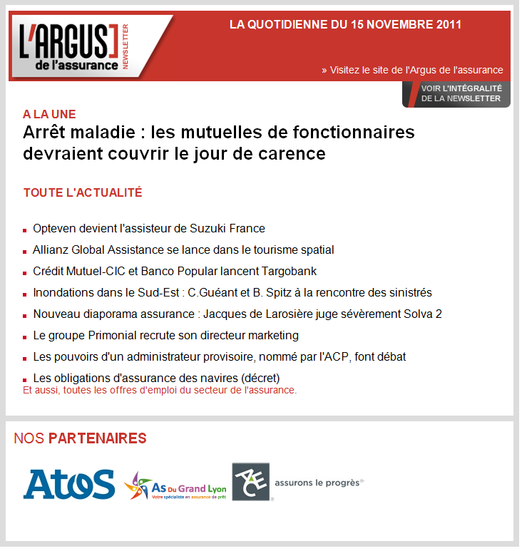 Argus de L'assurance: newsletter avec As Du Grand Lyon